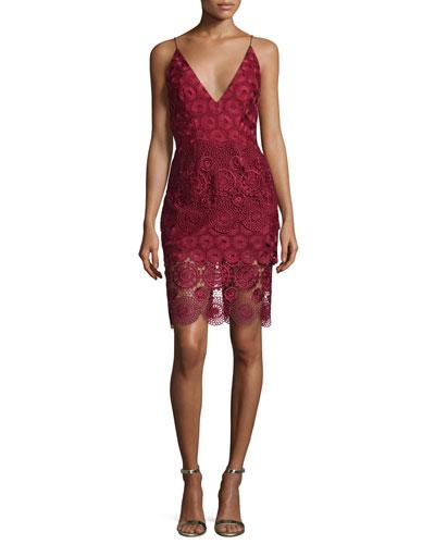 Mixed-Lace Sleeveless Slip Dress