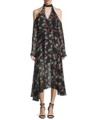 Floral-Print Silk Cold-Shoulder Midi Dress