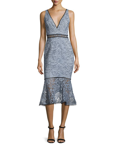 French Lace Sleeveless Midi Dress, Pewter