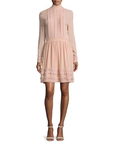 Fine-Pleat Silk Long-Sleeve Dress
