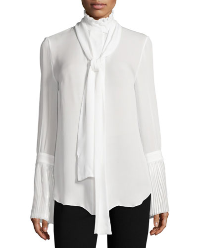 Fine-Pleat Pussy-Bow Silk Blouse