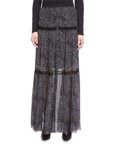 Arlington Tiered Printed Silk Chiffon Maxi Skirt