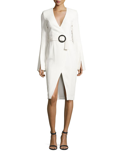 Crepe Long-Sleeve Belted Dress, White