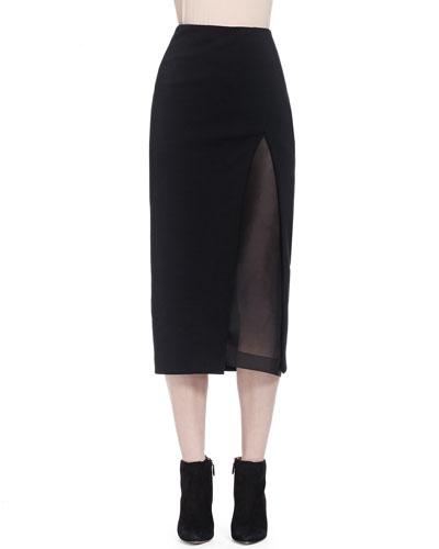 Slit Shadow Paneled Skirt