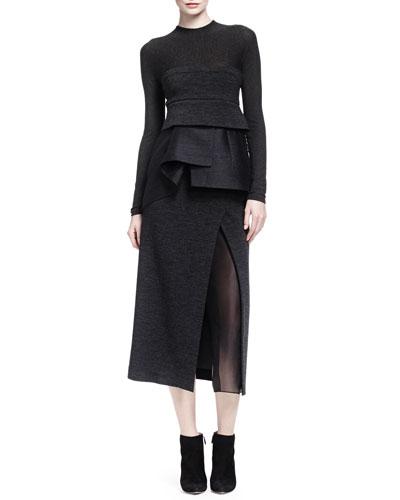 Sheer-Inset High-Slit Peplum Dress