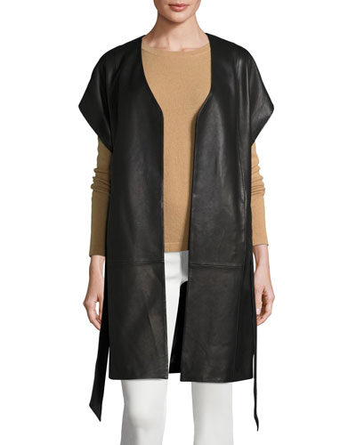 Short-Sleeve Leather Kimono Topper Jacket, Black