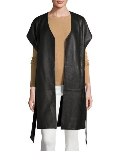 Short-Sleeve Leather Kimono Topper Jacket, Black