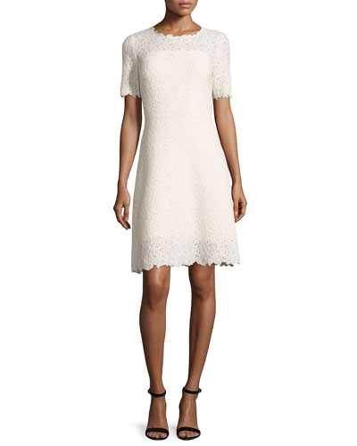 Ophelia Half-Sleeve Lace Dress, Off White/Cream