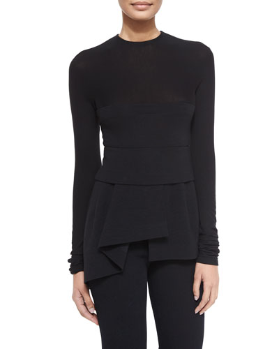 Long-Sleeve Combo Peplum Top, Black