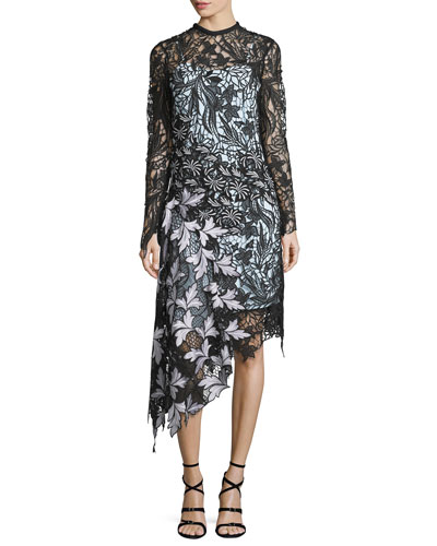 Vine Floral Lace Asymmetric Midi Dress