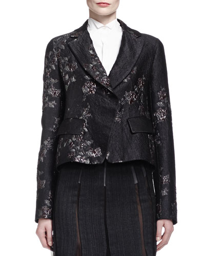 Metallic Brocade Short Jacket w/ Belt