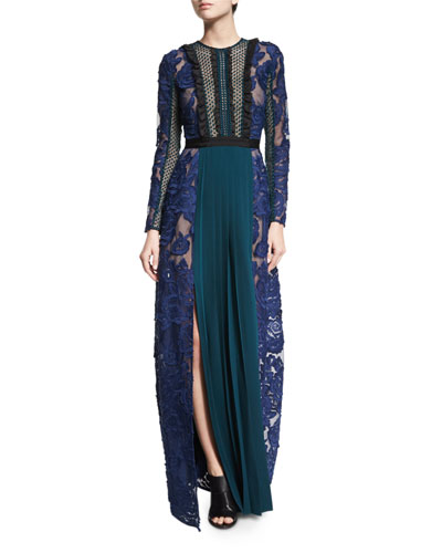 Thea Lace-Paneled Long-Sleeve Maxi Dress