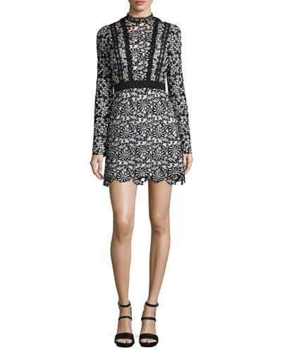 Antoinette Floral-Lace Long-Sleeve Mini Dress