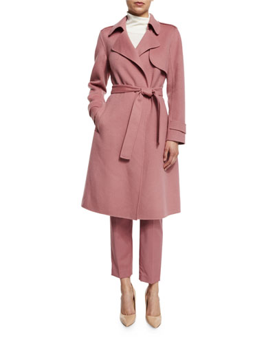 Oaklane New Divided Open-Front Trench Coat, Pink Willow