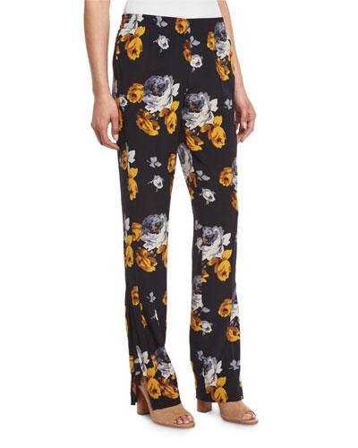 Viewpine Distressed Floral-Print Silk Pants