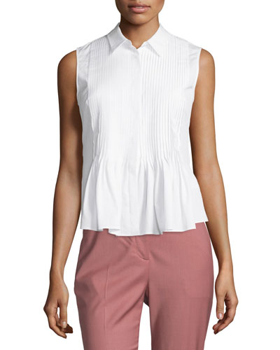 Dionelle B Sartorial Pintuck Top, White