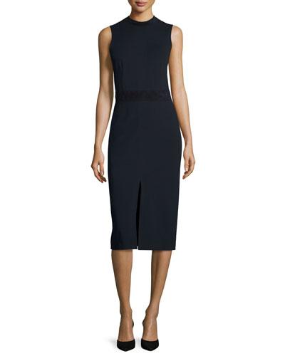 Antlia Fixture Ponte Suede-Trim Sheath Dress