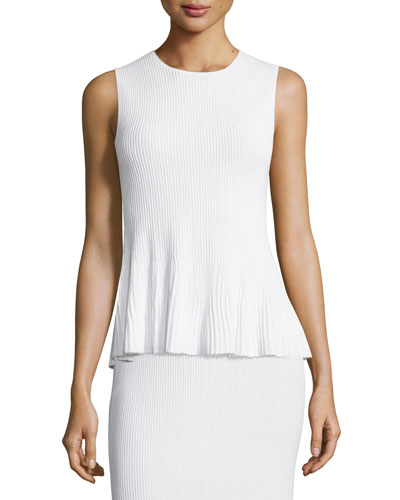 Canelis Prosecco Ribbed-Knit Top, White