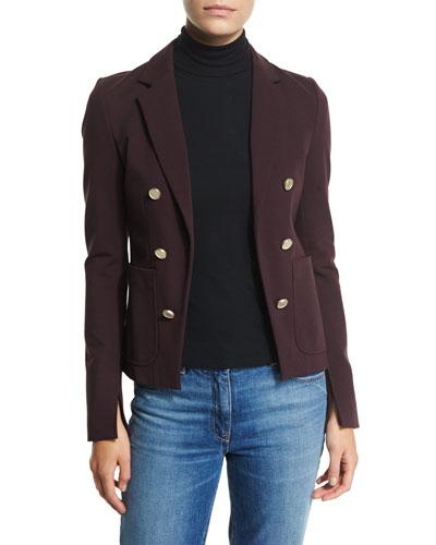 Jonita K Fixture Ponte Double-Breasted Jacket, Garnet