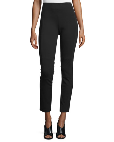 Oleander Cropped Stretch-Knit Pants, Black