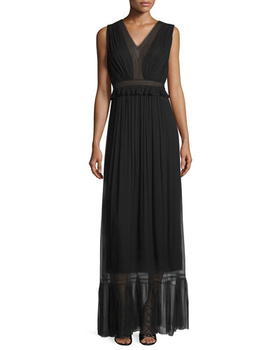 Amilia Sleeveless Pleated SIlk Maxi Dress, Black