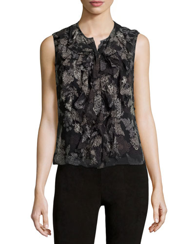 Estella Sleeveless Floral Silk-Chiffon Blouse, Black Multi