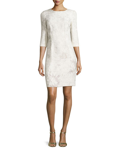 Clinton 3/4-Sleeve Embossed Sheath Dress, Twine