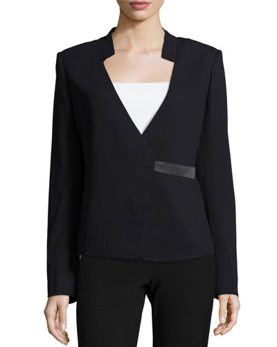 Blazer with Charmuese Closure, Black
