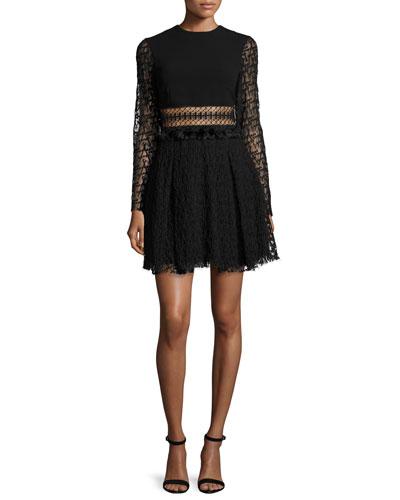 Embroidered-Mesh Mini Dress, Black