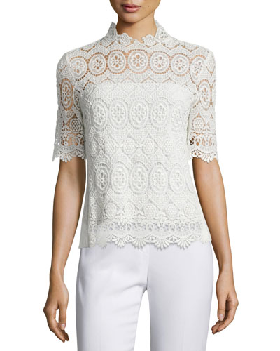 Carolyn Half-Sleeve Lace Blouse, Antique