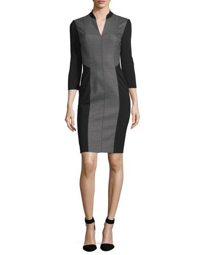 Citrine 3/4-Sleeve Colorblock Dress