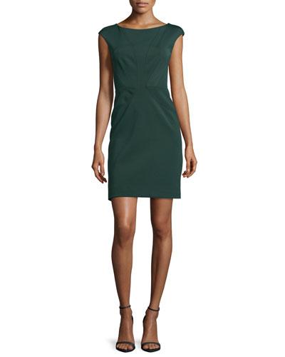 Dress with Cap Sleeve, Deep Green