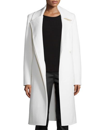 Long Double Faced Coat, Dark Bone