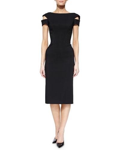 Off-the-Shoulder Cocktail Sheath Dress