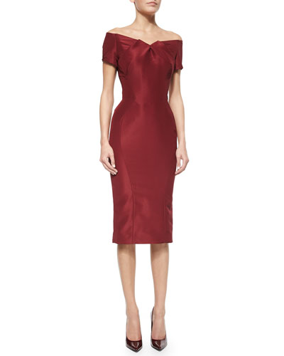 Off-The-Shoulder Cocktail Dress, Burgundy