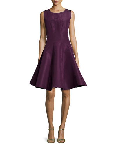 Silk Round Neck Party Dress, Plum