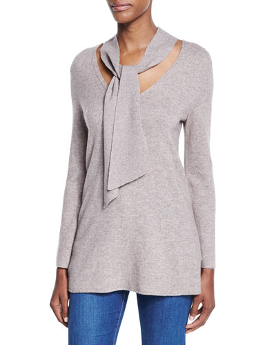Delores Tie-Neck Wool-Cashmere Sweater, Heather Mushroom
