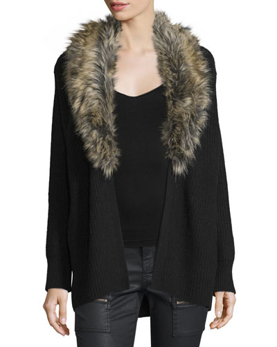 Evina Open-Front Cardigan w/Detachable Faux Fur Collar, Caviar