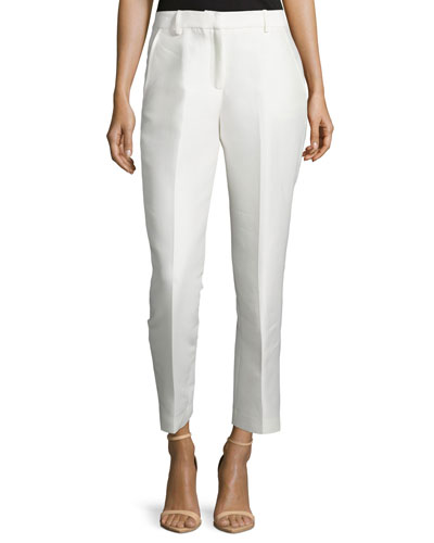 Cotton-Silk Tapered Pants, White