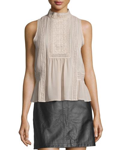 Raffe Lace-Inset Sleeveless Silk Top