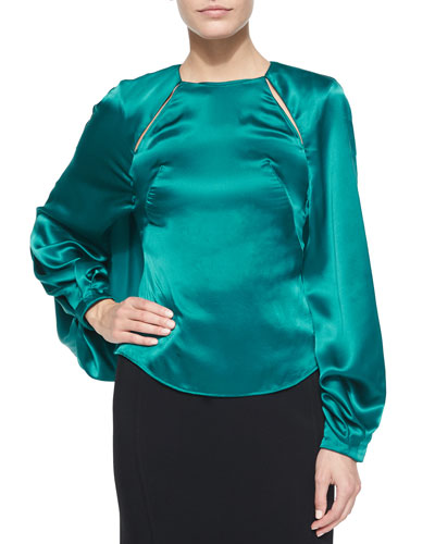 Long-Sleeve Keyhole Top, Harbor Blue