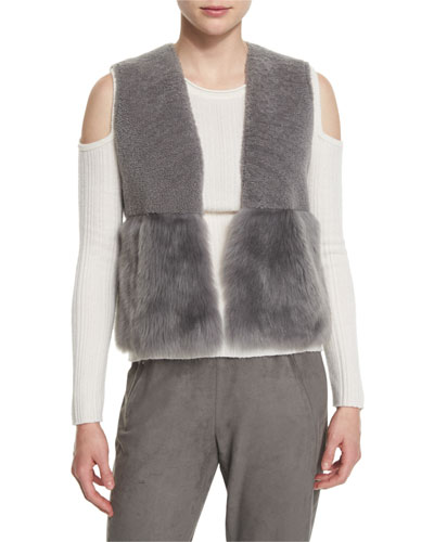 Carly Cropped Shearling Vest, Granite