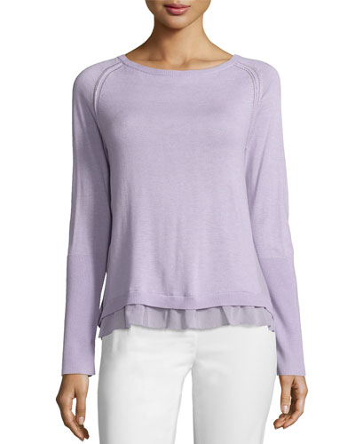 Sweater with Layered Hem Detail, Thistle