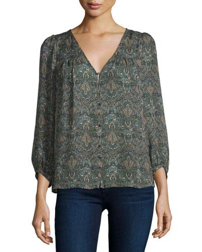 Celosia 3/4-Sleeve Paisley Silk Top