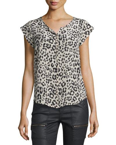 Iva Leopard-Print Silk Cap-Sleeve Top