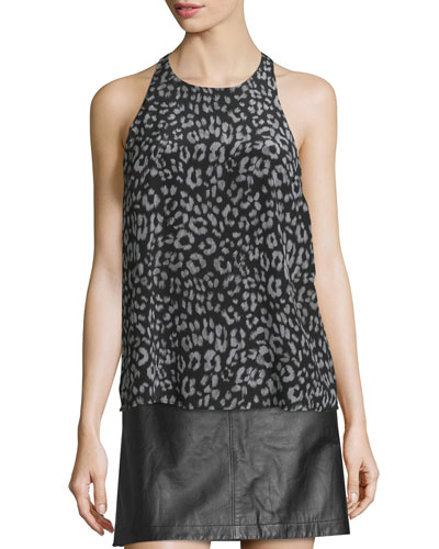 Brighton Animal-Print Sleeveless Silk Top