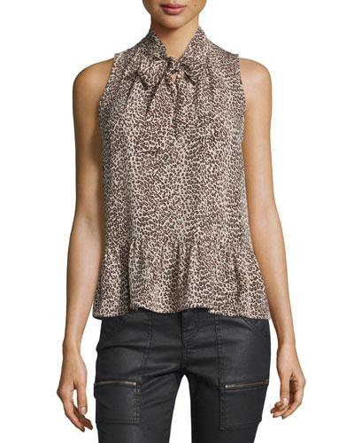 Estero Leopard-Print Tie-Neck Top