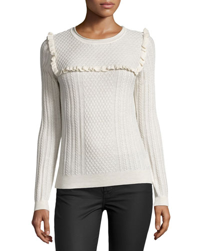 Flor Ruffle-Trim Cable-Knit Sweater