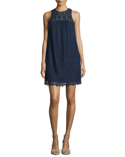 Fahfia Sleeveless Lace Shift Dress