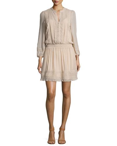 Pima Silk Georgette Lace-Inset Dress, Almond